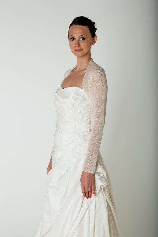 Bridal bolero in ivory and white; we knit for brides