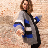 Knit cardigan in blue gray black with Ingenua by Katia