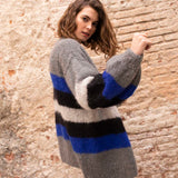 Knit cardigan in blue gray black with mohair wool by Katia