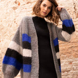 Knit wide cardigan in blue gray black with Ingenua by Katia