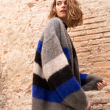 Knit cardigan in blue gray cream with Ingenua by Katia