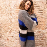 Comfortable knit cardigan in blue gray black with Ingenua by Katia