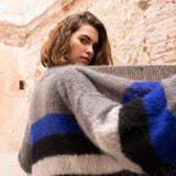 Knit cardigan in blue gray black with Ingenua wool by Katia