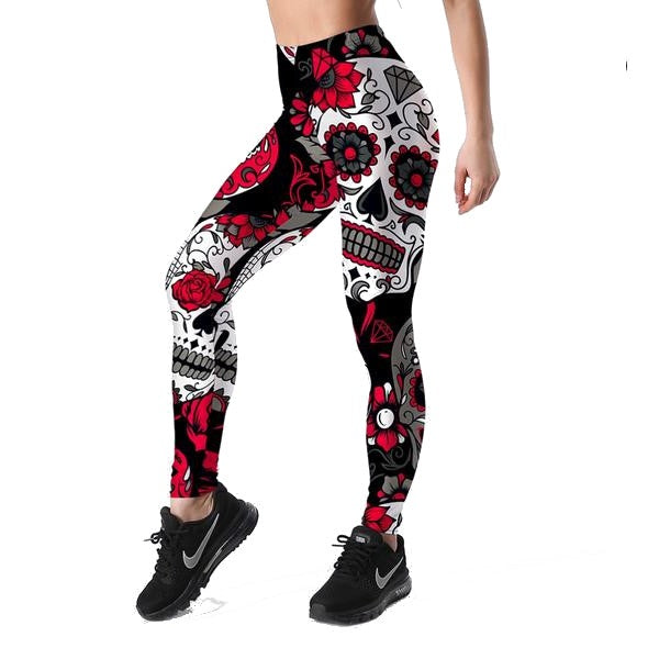 Ladies Skull & flower Leggings