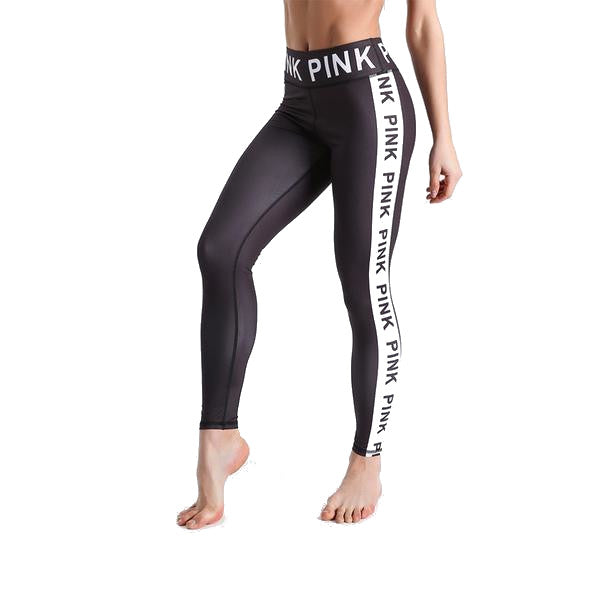 Ladies Pink Letter Leggings