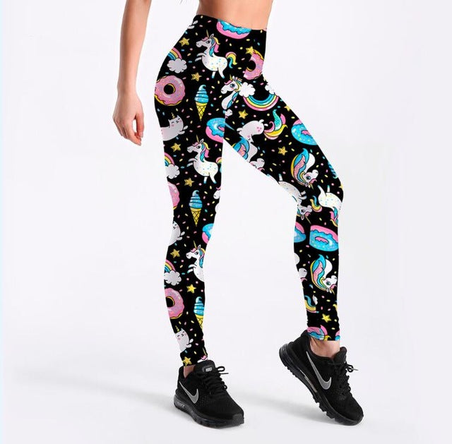 Ladies Cartoon Ice Cream God Horse Leggings