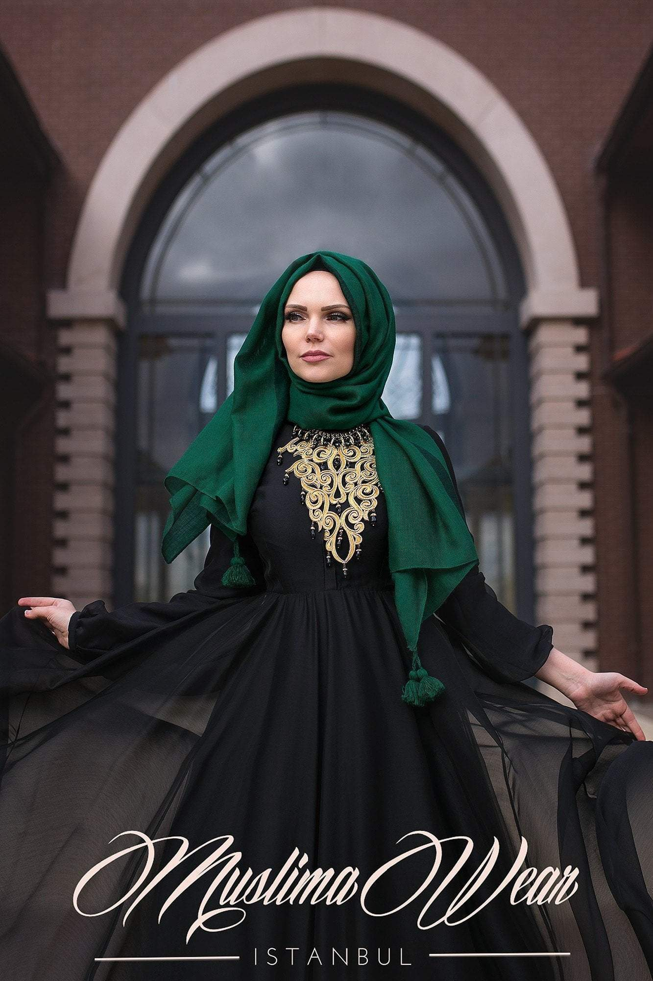 Black Pearl Chiffon Dress - Muslima Wear