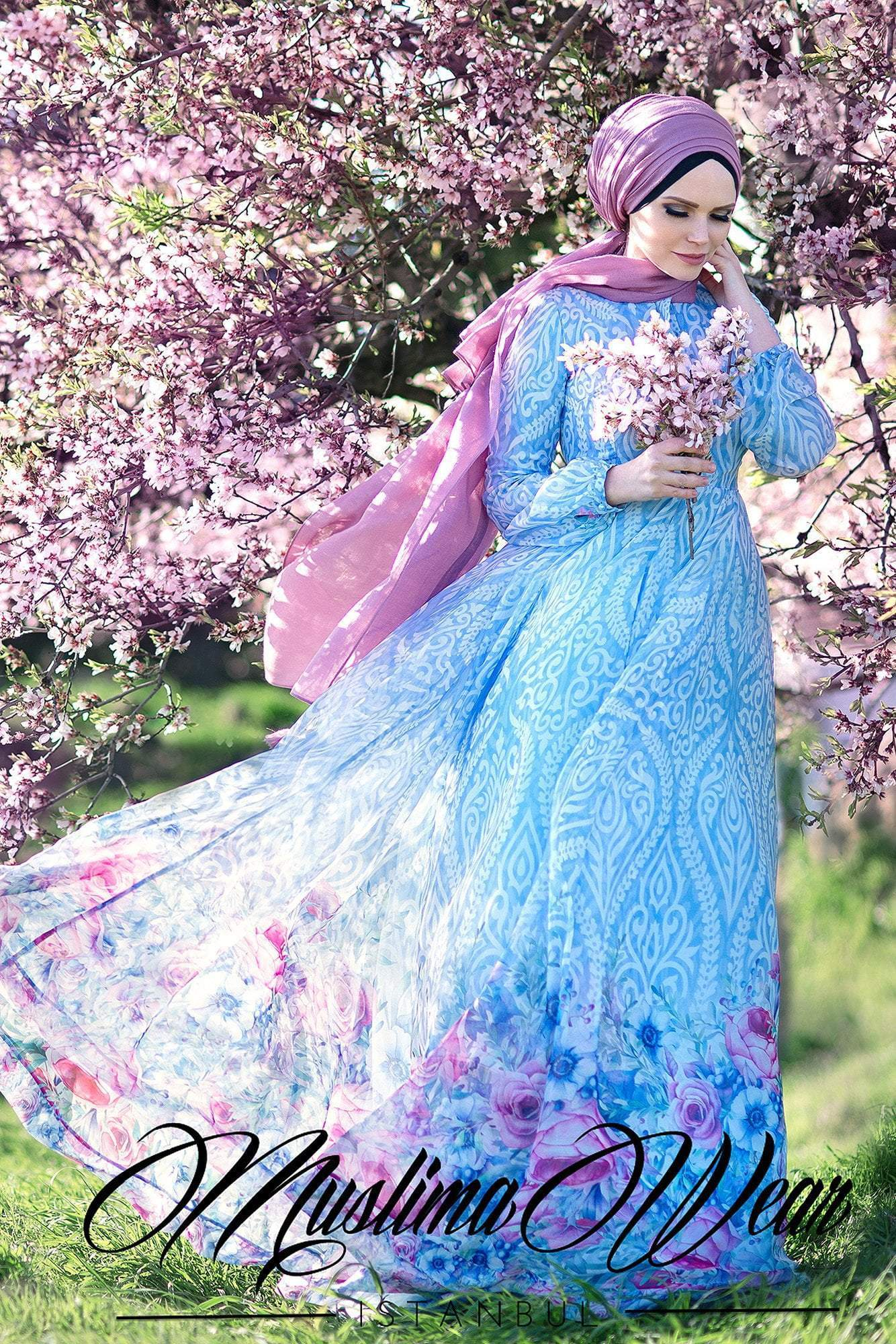 Blue Blossom Chiffon Dress - Muslima Wear