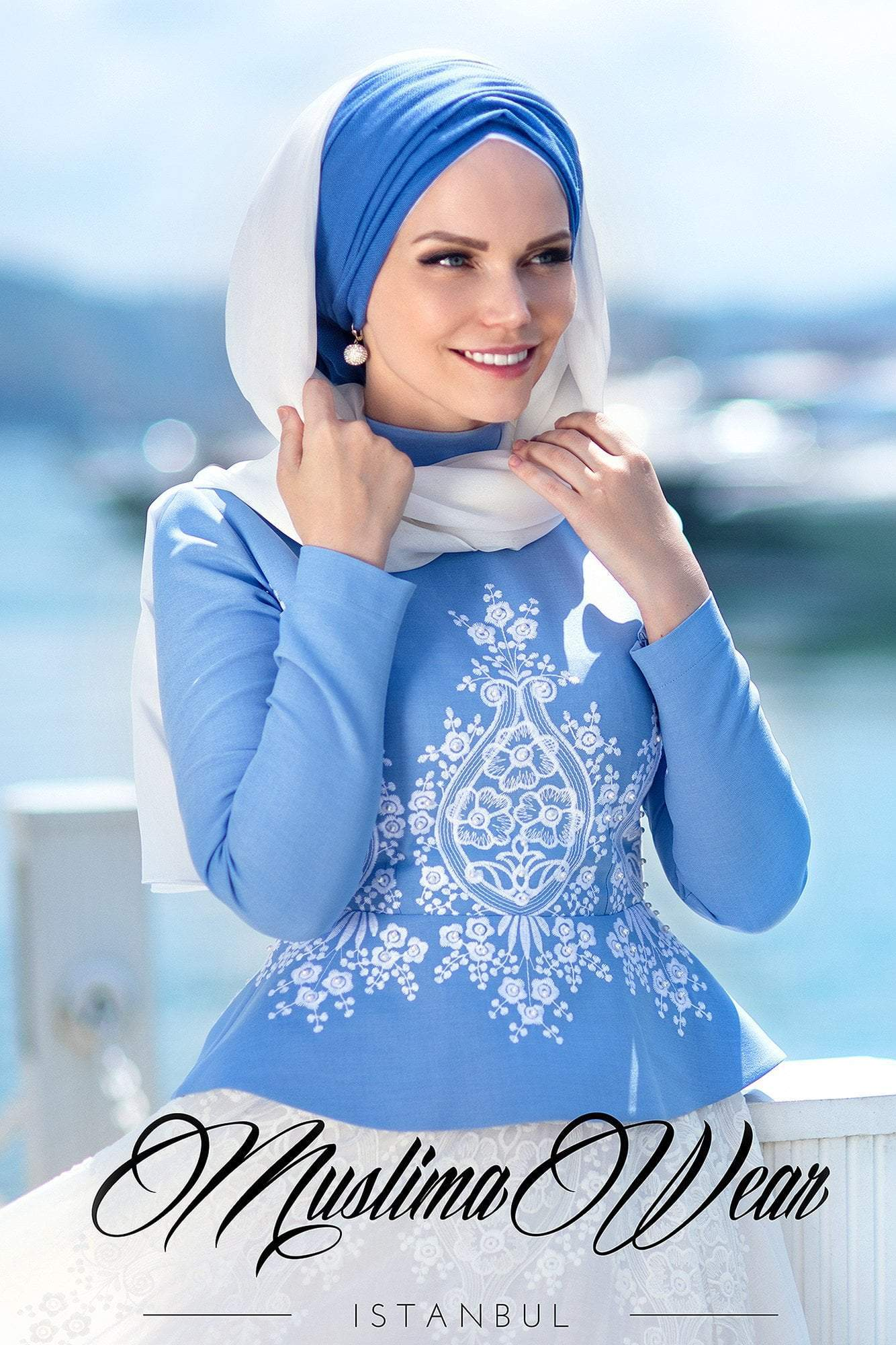 Blue Pearl Blouse - Muslima Wear