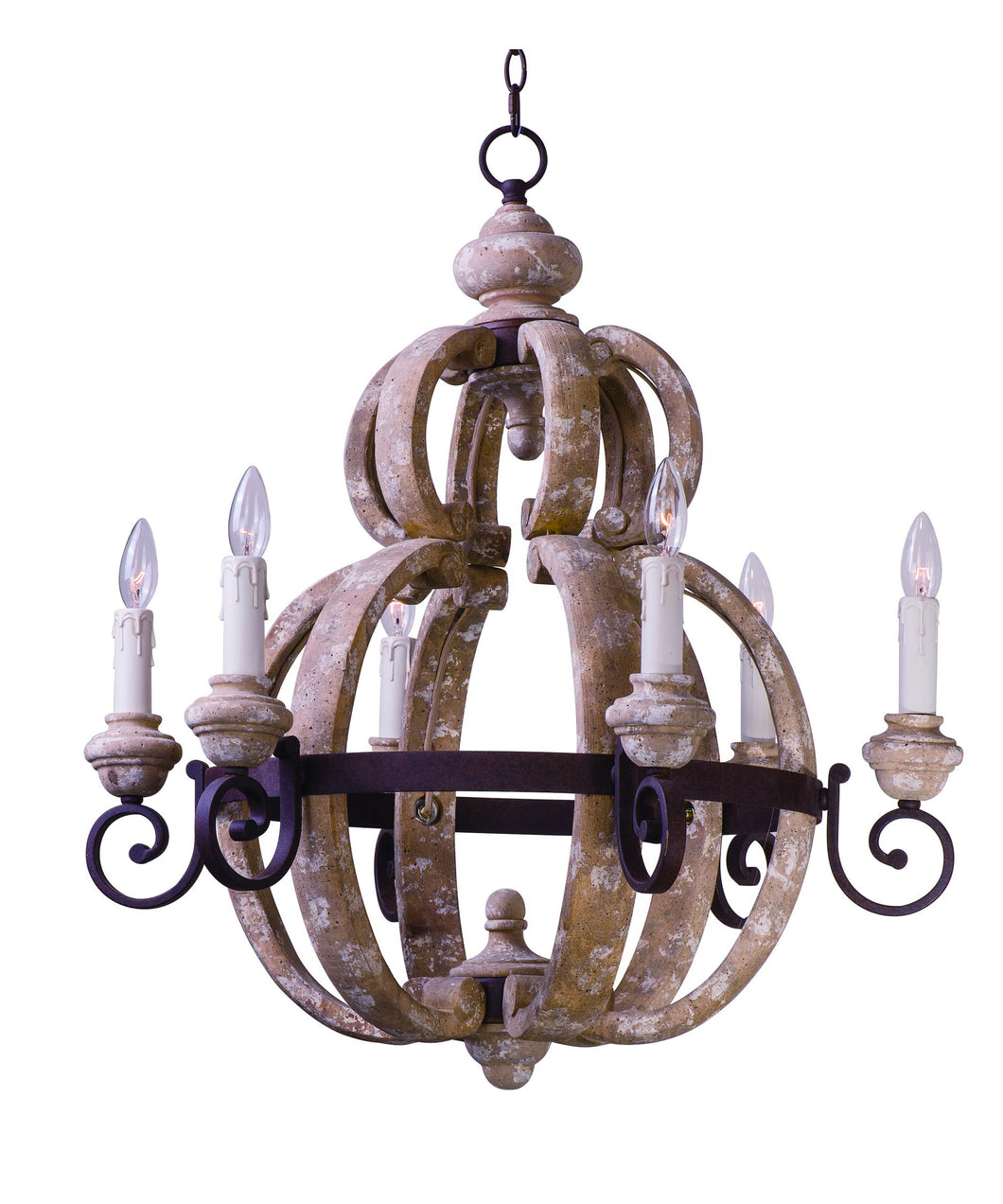 OLDE WORLD WOOD AND WROUGHT IRON CHANDELIER