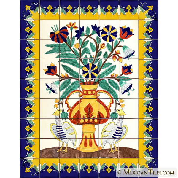 VASE AND FLOWERS WITH BIRDS TALAVERA TILE MURAL WALL HANGING