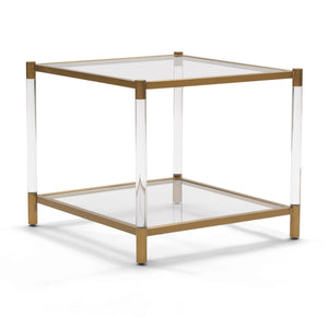 BEVERLY ACRYLIC AND BRASS SIDE TABLE