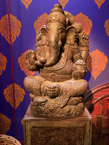 GANESHA WOOD CARVED STATUE