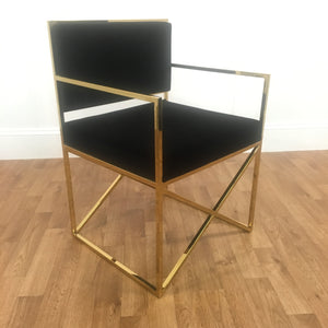BLACK FELT ACCENT CHAIR WITH GOLD LEGS/ARMS