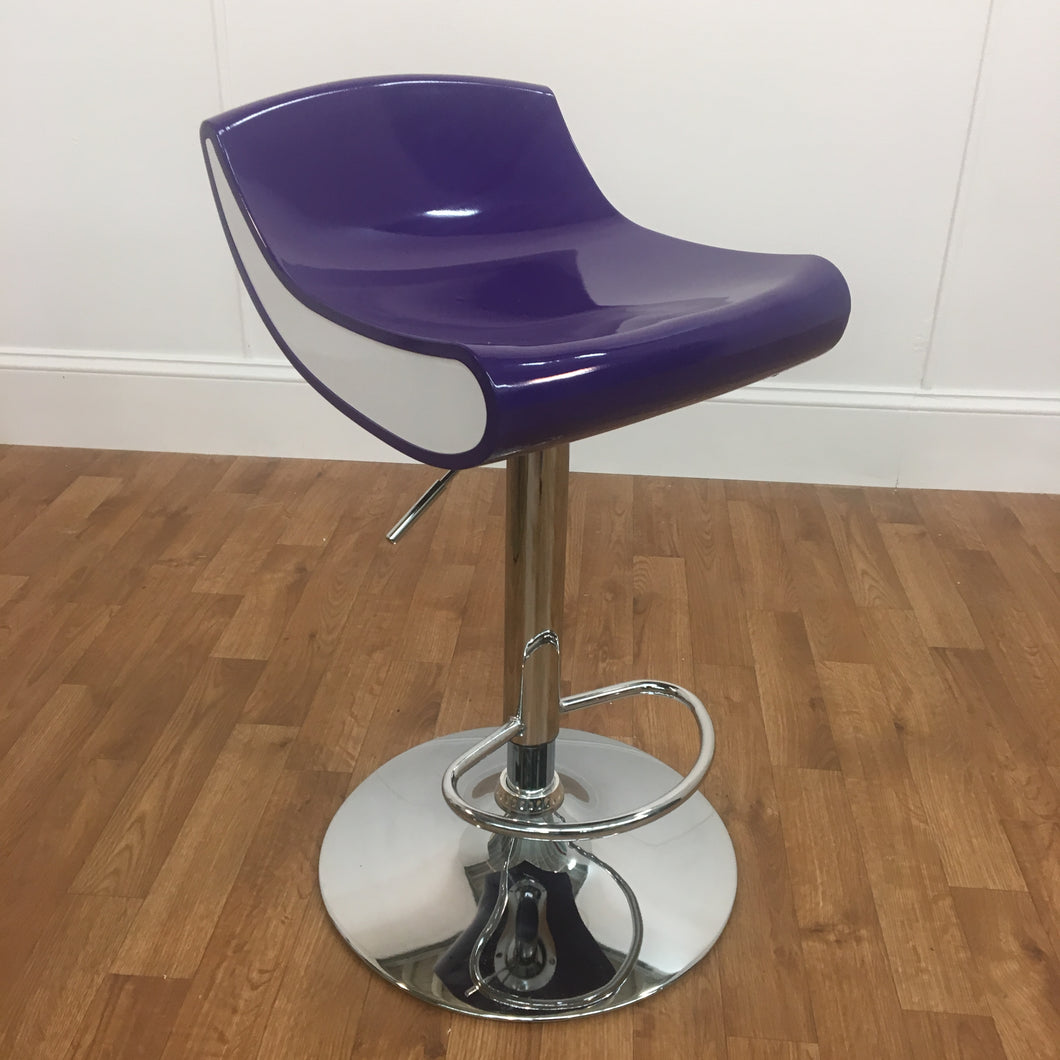 PURPLE/WHITE ADJUSTABLE BAR STOOL (ALSO AVAILABLE IN BLACK/WHITE)