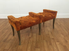 ORANGE FELT 1970s TWO SEAT BENCH