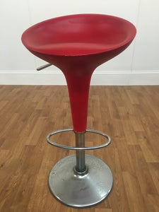 ADJUSTABLE RED LEATHER STOOL