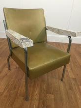 VINTAGE GREEN SALON CHAIR WITH ASH TRAY