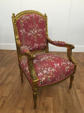 GOLD LEAF/RED FLORAL PATTERN  CHAIR
