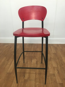 TALL ARMLESS WOODEN CHAIR WITH BLACK METAL LEGS