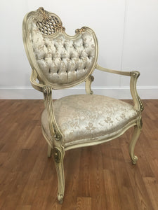 ANNIVERSARY SILVER/OFF WHITE OPEN ARM CHAIR