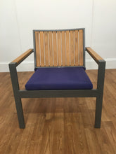 PURPLE/ GREY INDOOR/OUTDOOR PORCH CHAIR, OPEN ARMS/SLOTTED BACK