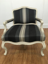 ANTIQUE OPEN ARM, SOLID BACK WHITE, BLACK AND GREY CHAIR