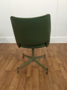 VINTAGE ARMLESS SWIVEL GREEN KITCHEN CHAIR