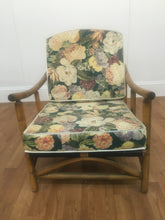 WOOD FINISH HAWAIIN CHAIR WITH REMOVABLE FLORAL CUSHION