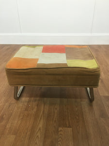 MULTICOLORED PLAD CORDEROY OTTOMAN WITH COLLAPSABLE LEGS