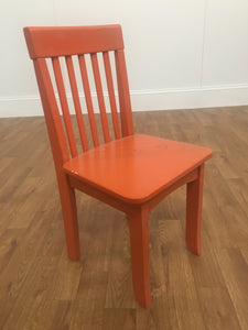 ORANGE WOOD CHILDRENS STOOL WITH SLOTTED BACK