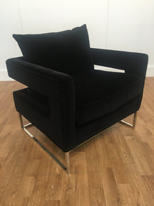 BLACK MICROSUEDE PADDED ACCENT CHAIR