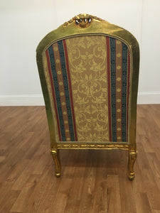 GOLD LEAF MULTIPATTERN BLUE AND RED CHAIR WITH GOLD LEAF TRIM