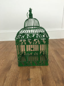 HANGING GREEN METAL BIRD CAGE