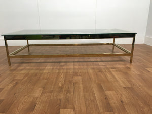 GOLD METAL RECTANGLE COFFEE TABLE WITH GLASS TOP