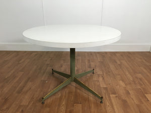 VINTAGE PLASTIC TOP KITCHEN TABLE WITH WOODEN LEGS