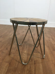 WOOD ACCENT TABLE WITH DARTBOARD PATTERN, CHROME LEGS