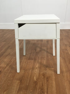WHITE METAL ACCENT TABLE WITH SLIDING SHELF