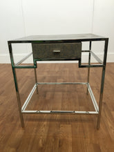 REPTILE SKIN PATTERN ACCENT TABLE WITH CHROME TRIM