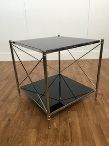 BLACK GLASS TWO TIER MAGAZINE TABLE WITH SILVER TRIM