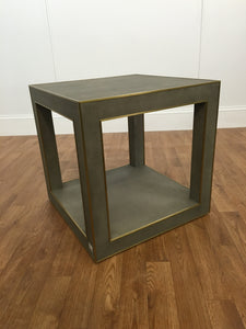SKIN PATTERN ACCENT TABLE WITH BRUSHED GOLD TRIM