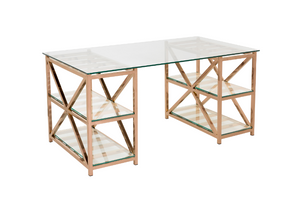 NELSON GLASS TOP AND ROSE GOLD DESK