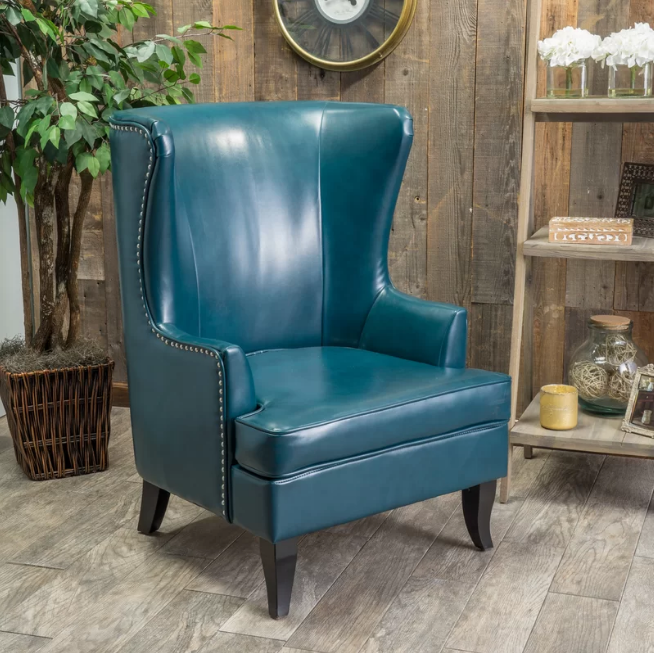 WING BACK BONDED LEATHER CHAIR