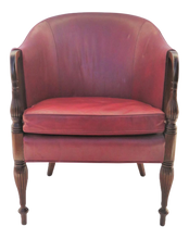 DREXEL CARVED MAHOGANY LEATHER SIDE CHAIR