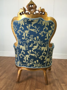 VICTORIAN CHAIR: GOLD LEAF FLORAL PATTERN ON BLUE CLOTH