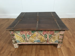 ANCIENT THEMED WOOD COFFEE TABLE
