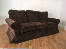 BROWN VELVET 3 SEAT COUCH