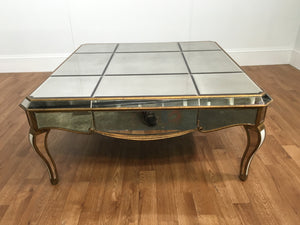 GLASS DISTRESSED, MIRRORED BEVELLED COFFEE TABLE