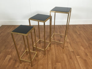 GOLD TRIM TABLE SET; BLACK ONYX TOPS