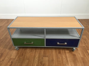 INDUSTRIAL VENTED TWO DRAWER ROLLING TABLE